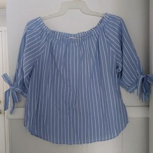 L.o.g.g. blue white striped off shoulder with tie